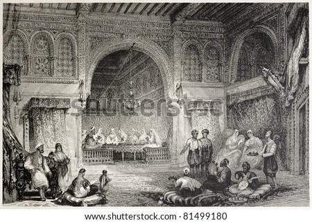 Old illustration of a Moorish palace interior, Algiers. Created by Allon and Challis, published on Il Mediterraneo Illustrato, Spirito Battelli ed., Florence, Italy, 1841 - stock photo