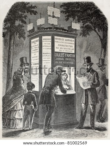 Old illustration of a newspaper kiosk. Created by Gaildrau, published on L'Illustration, Journal Universel, Paris, 1857 - stock photo