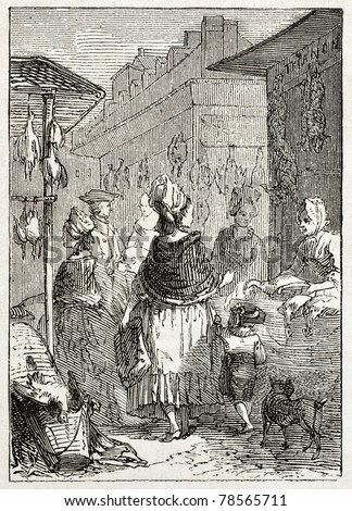Old illustration of a poultry seller in market place. Created by Godefroy-Durand, published on L'Illustration Journal Universel, Paris, 1857 - stock photo