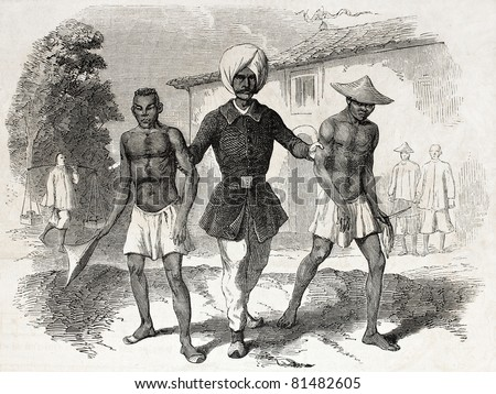 Old illustration of a Singapore policeman arresting two Cchinese thieves. Created by Crapelet, published on L'Illustration Journal Universel, Paris, 1857