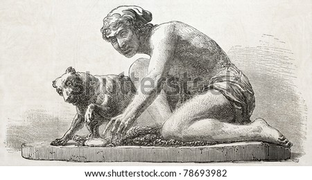 Old illustration of a statue depicting fisherman and his dog. Created by Nast, published on L'Illustration Journal Universel, Paris, 1857 - stock photo