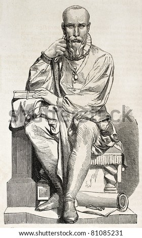 Old illustration of a statue of Ambroise Pare, French surgeon for king Henri II. Created by Varnier, published on L'Illustration, Journal Universel, Paris, 1857 - stock photo