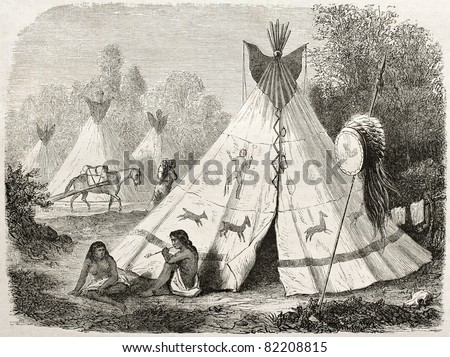 Old illustration of a Tepee in Comanche native American camp. Created by Duveaux after report made under the direction of the U.S. secretary of the war. Published on Le Tour du Monde, Paris, 1860 - stock photo