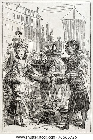 Old illustration of a woman selling Chasselas grape. Created by Godefroy-Durand, published on L'Illustration Journal Universel, Paris, 1857 - stock photo