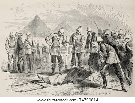 Old illustration of Abyssian emperor death: Tewodros II body found after Magdala battle. Created by Pauquet and Dutheil, published on L'Illustration, Journal Universel, Paris, 1868 - stock photo