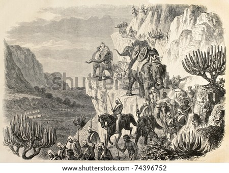 Old illustration of an British artillery convoy marching between Magdala and Antalo during Abyssinian expedition. Created by Janet-Lange, published on L'Illustration, Journal Universel, Paris, 1868 - stock photo