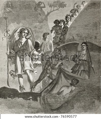 Old illustration of Ariadne and Bacchus fresco, in Proculus house, Pompeii. Created by Therond, published on Le Tour du Monde, Paris, 1864 - stock photo