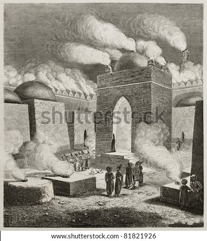 Old illustration of  Ateshgah of Baku, or Fire Temple. Created by Moynet, published on Le Tour du Monde, Paris, 1960