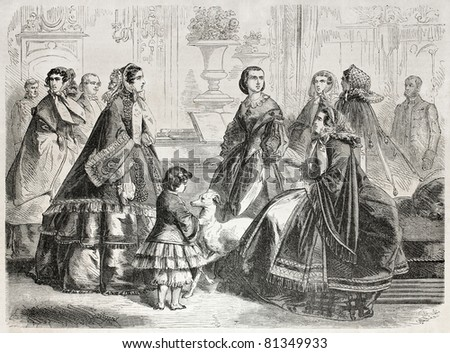 Old illustration of 1857 autumn fashion for women. Created by Worms, published on L'Illustration, Journal Universel, Paris, 1857 - stock photo