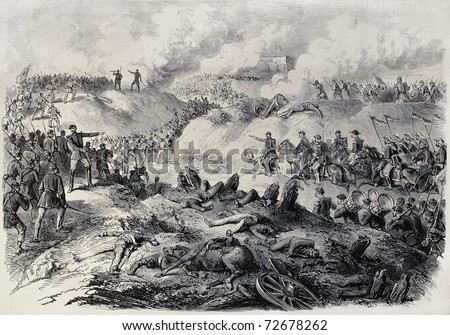 Old illustration of battlefield in Paraguay, during the war of the Triple Alliance. By Janet-Lange and Cosson-Smeeton after sketch of Paranhos. Publ. on L'Illustration, Journal Universel, Paris, 1868 - stock photo
