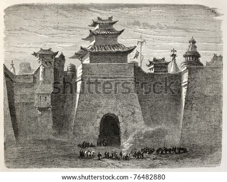 Old illustration of Beijing walls and gate. Created by Lancelot, published on Le Tour du Monde, Paris, 1864. - stock photo