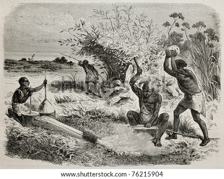 Old illustration of blacksmith workers in a tribe of Unyamwezi region, Tanzania. Created by Bayard, published on Le Tour du Monde, Paris, 1864 - stock photo