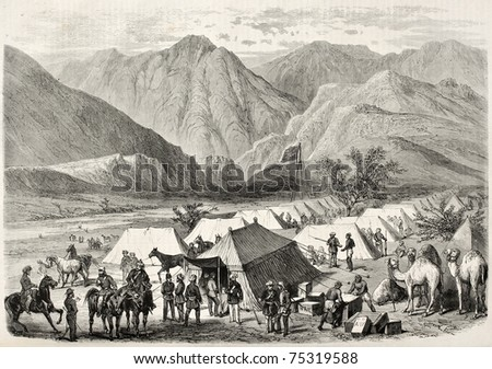 Old illustration of British headquarters along the way to Senafe, Abyssinia. Created by Blanchard and Cosson-Smeeton, published on L'Illustration, Journal Universel, Paris, 1868 - stock photo