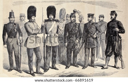 "Old illustration of British riflemen uniforms. Original, from drawing of G. Durand, was published on ""L'Illustration, Journal Universel"", Paris, 1860 - stock photo"