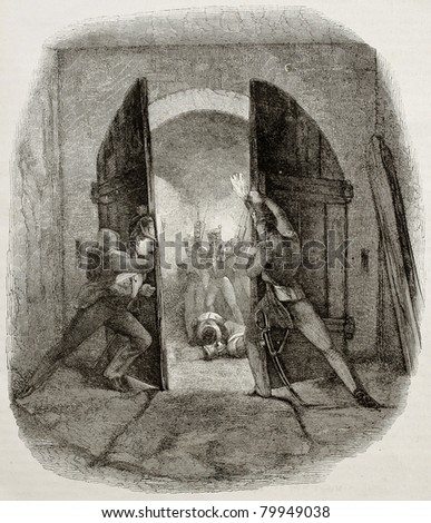 Old illustration of British soldiers closing door in Hougmount castle, defending from French attack during Waterloo battle. Created by Pauquet after Jones, publ. on Magasin Pittoresque, Paris, 1850 - stock photo