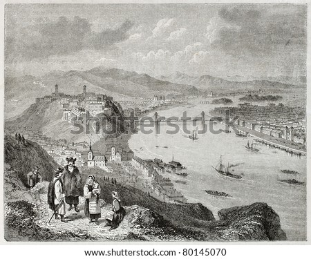 Old illustration of Buda and Pest on the two banks of the Danube river. Created by Freeman and Quartley, published on Magasin Pittoresque, Paris, 1850 - stock photo