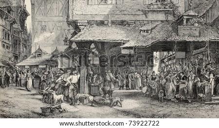 Old illustration of butcher's shop in Frankfurt. Engraved by Joliet after tablet of Noel. Published on L'Illustration, Journal Universel, Paris, 1868 - stock photo