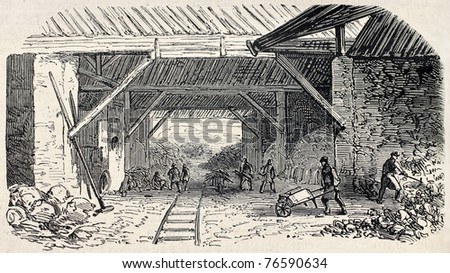 Old illustration of  Buttes Chaumont quarries kilns working, 19th arrondissement, Paris. Created by Gaildrau, published on L'Illustration, Journal Universel, Paris, 1868 - stock photo