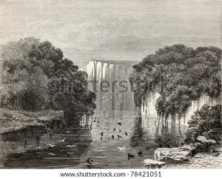 Old illustration of Canari pond, Peru. Created by Riou, published on Le Tour du Monde, Paris, 1864 - stock photo