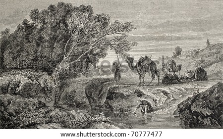 Old illustration of caravan resting at an oasis. Original, from drawing of  Freemann, on a tablet of Marilhat, was published on L'Illustration, Journal Universel, Paris, 1860 - stock photo