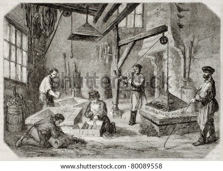 Old illustration of carburizing workshop in antique needle factory. By unidentified author, published on Magasin Pittoresque, Paris, 1850