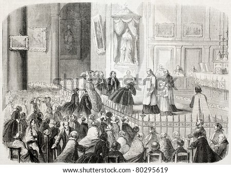 Old illustration of ceremony during St Catherine feast in Toulon, France. Created by Letuaire, published on L'Illustration Journal Universel, Paris, 1857 - stock photo