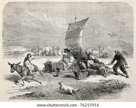 Old illustration of Chinese sail cart. Created by Bayard and Gauchard, after photo of Fane, published on Le Tour du Monde, Paris, 1864 - stock photo