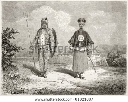 Old illustration of Chinese soldiers: war tiger and a brave. Created by Dore after Trevise, published on Le Tour du Monde, Paris, 1860 - stock photo