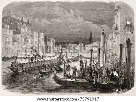 Old illustration of Daniele Manin's funeral procession along Grand Canal, Venice, Italy. Created by Blanchard and Cosson-Smeeton, published on L'Illustration, Journal Universel, Paris, 1868 - stock photo