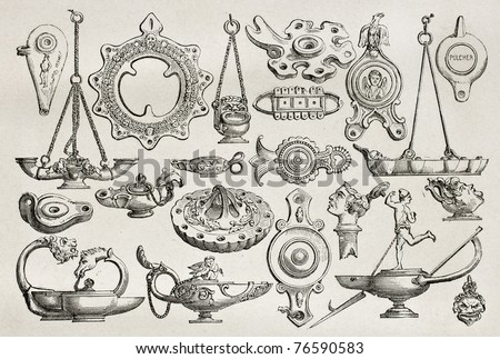 Old illustration of earthenware and bronze lamps found in Pompeii, Created by Catenacci, published on Le Tour du Monde, Paris, 1864 - stock photo