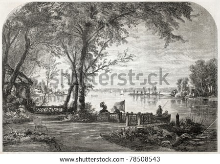 Old illustration of Enghien lake, Paris surroundings. Created by Blanchard, published on L'Illustration Journal Universel, Paris, 1857