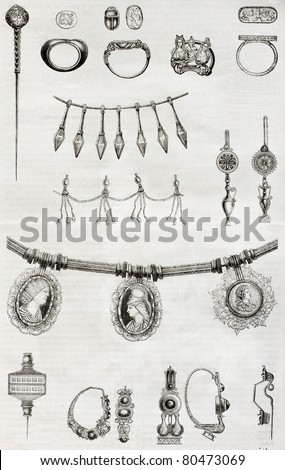 Old illustration of Etruscan and Roman jewels. By unidentified author, published on Magasin Pittoresque, Paris, 1850 - stock photo