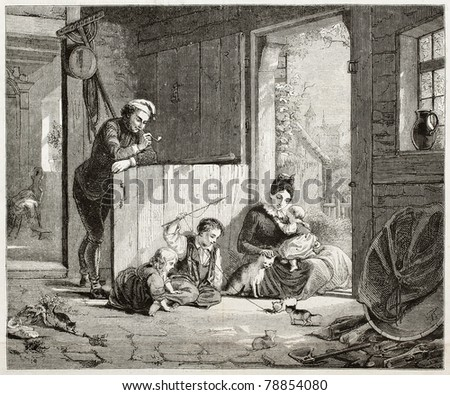 Old illustration of family in home interior playing with cats. Created by Meyerheim, published on Magasin Pittoresque, Paris, 1850.