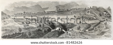 Old illustration of Fort Napoleon in Kabylie, Algeria. Created by Gaildrau after sketch of Deloisy, published on L'Illustration Journal Universel, Paris, 1857 - stock photo