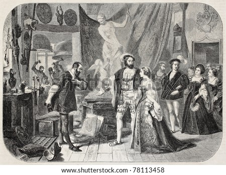 Old illustration of Francis I of France and Duchess of Etampes in Benvenuto Cellini's atelier. Created by Comte, published on L'Illustration Journal Universel, Paris, 1857