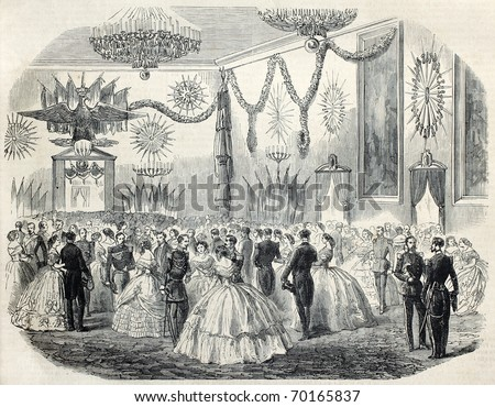 Old illustration of French army ball at Cremona's city hall, Italy. Original, from drawing of Janet-Lange, after sketch of Boucheman, was published on L'Illustration, Journal Universel, Paris, 1860 - stock photo