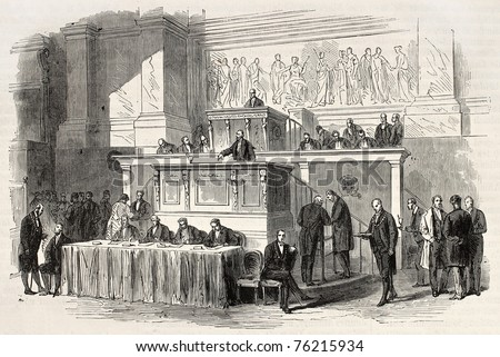 Old illustration of French parliament tribune, Paris. Created by Pauquet, published on L'Illustration, Journal Universel, Paris, 1868