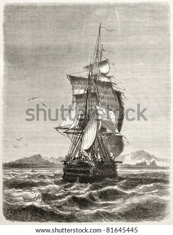 Old illustration of frigate Novara of the Austro-Hungarian Navy. Created by Jules Noel, published on Le Tour du Monde, Paris, 1860 - stock photo