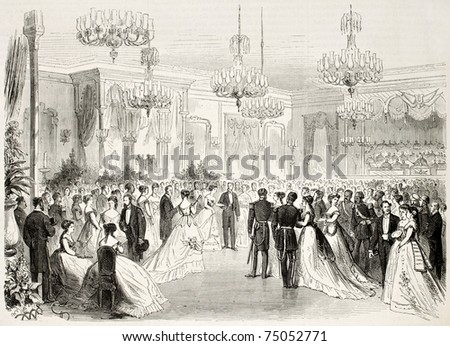 Old illustration of Grand Bal given to Egypt viceroy in Alexandria. Created by Pauquet and Cosson-Smeeton, published on L'Illustration, Journal Universel, Paris, 1868 - stock photo
