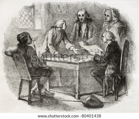 Old illustration of group of men discussing about money around a table. Created by Johannot, published on Magasin Pittoresque, Paris, 1850
