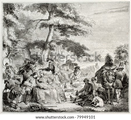 Old illustration of hunting break having meal on lawn. Created by Janet-Lange after Van Loo picture Halte de Chasse (kept in the Louvre museum). Published on Magasin Pittoresque, Paris, 1850 - stock photo