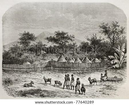 Old illustration of King's Ukulima village, Tanzania. Created by De Bar, published on Le Tour du Monde, Paris, 1864 - stock photo
