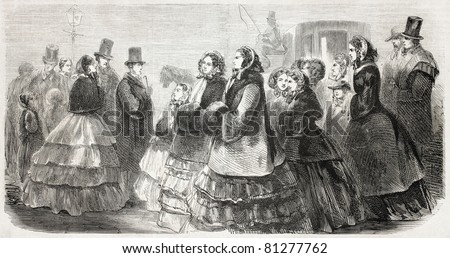 Old illustration of ladies and gentlemen promenading in Broadway. Created by Job, published on L'Illustration, Journal Universel, Paris, 1857