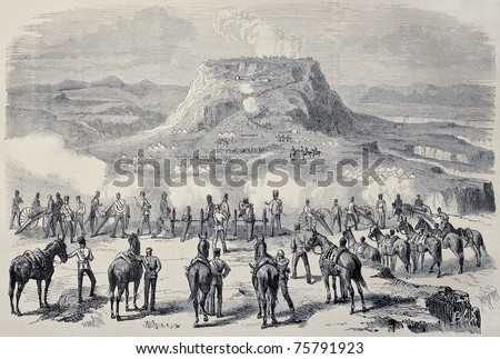 Old illustration of Magdala siege during British Abyssinian expedition. Created by Janet-Lange and Cosson-Smeeton, published on L'Illustration, Journal Universel, Paris, 1868 - stock photo