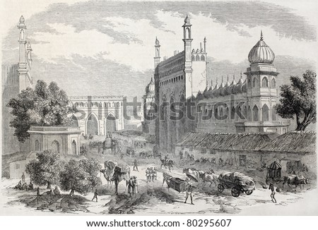 Old illustration of main street in Lucknow, India. Created by Freeman and Godefroy-Durand after De Lagrange, published on L'Illustration Journal Universel, Paris, 1857 - stock photo