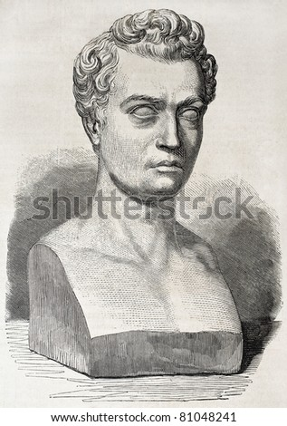 Old illustration of marble bust of Jean-Baptiste Gustave Planche, French art and literary critic. Created by Marc after sculpture of Simat, published on L'Illustration, Journal Universel, Paris, 1857 - stock photo