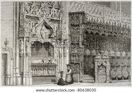 Old illustration of Margaret of Bourbon tomb in the Royal Monastery of Brou, France. Created by Matthieu, published on Magasin Pittoresque, Paris, 1850