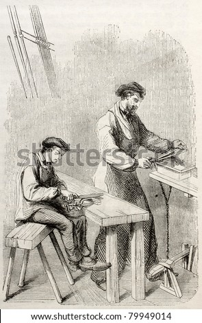Old illustration of men filing in a needle factory. By unidentified author, published on Magasin Pittoresque, Paris, 1850 - stock photo