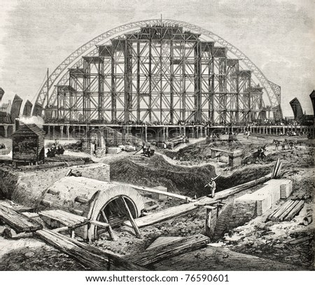 Old illustration of Midland railway station (St. Pancras) construction in London. Created by Loudon, published on L'Illustration, Journal Universel, Paris, 1868 - stock photo