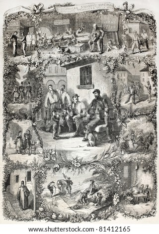 Old illustration of military life, various scenes. Created by Peyronnet, published on L'Illustration, Journal Universel, Paris, 1857 - stock photo